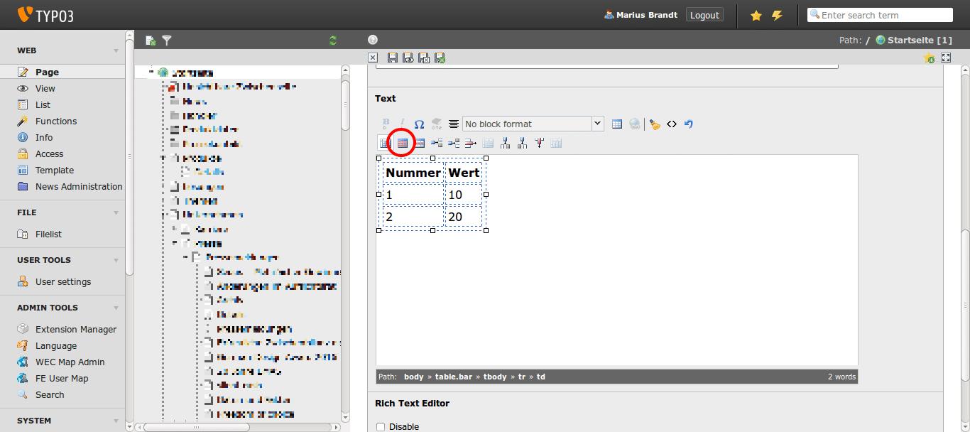 Eine neue Tabellenklasse zum RTE in TYPO3 6.2 hinzufügen - Webrunners